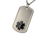 Titanium Dog Tag Pendant with Black Medical ID Symbol