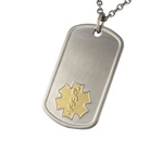 Titanium Dog Tag Pendant with Gold Medical ID Symbol