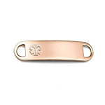 Medical ID Tag for Custom Bracelets - Rose Gold Plated Stainless Steel - 1 1/2 Inch Length