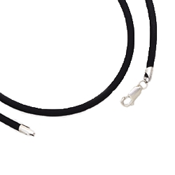 Black Rubber Necklace - 16 or 18 Inches