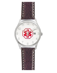 Men's Medical ID Watch with Brown Leather Band - Buffalo Chrono