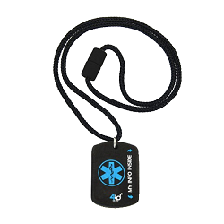 4id Sports Medical Identification Dog Tag Necklace - BLUE