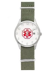 Men's Nato Medical ID Watch - Olive