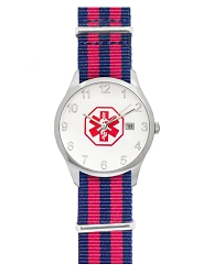 Men's Nato Medical ID Watch - Red Blue Stripe