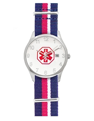 Men's Nato Medical ID Watch - Red Blue White Stripe