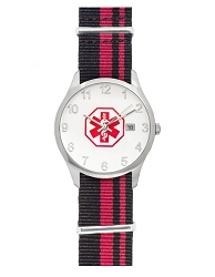 Men's Nato Medical ID Watch - Black Red Stripe