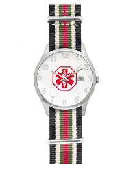 Men's Nato Medical ID Watch - Black White Green Red Stripe