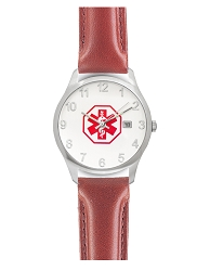 Men's Medical ID Watch with Red Brown Leather Band - Oilskin Chrono
