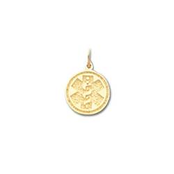 Round Medical ID Pendant in 10K, 14K Gold or Silver - 12mm