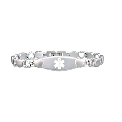 Heart Link Stainless Steel Medical ID Bracelet - Silver Tone