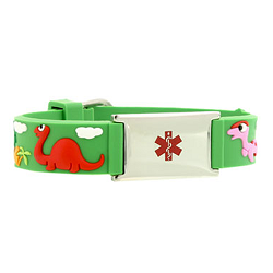 Dinosaur Rubber and Stainless Steel Kids Medical ID Bracelet - Green