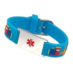 Choo Choo Train Rubber and Stainless Steel Kids Medical ID Bracelet - Light Blue