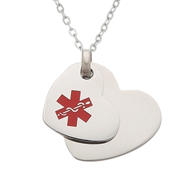 Tiffany Style Stainless Steel Medical ID Pendant Necklace - Double Heart