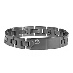 Medical ID Brushed Gray Stainless Adjustable Link Bracelet