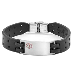 Aperture Black Leather Medical ID Bracelet