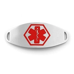 Medical ID Tag for Custom Bracelets - Stainless with Large RED Symbol - 1 1/2 Inch Length