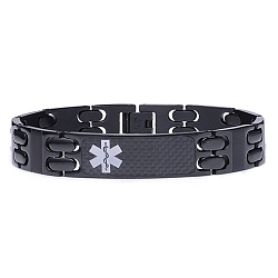 Black Link Carbon Fiber Stainless Steel Medical ID Bracelet