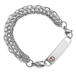 Triple Chain Stainless Steel Medical ID Bracelet