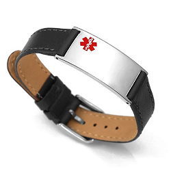 Black Matte Leather and Stainless Adjustable Medical ID Bracelet