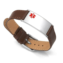 Brown Matte Leather and Stainless Adjustable Medical ID Bracelet