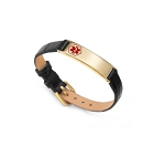 Black Leather and Stainless Thin Adjustable Medical ID Bracelet - Gold Plated