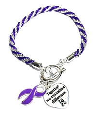 Epilepsy Awareness Silver Ribbon Purple Rope Charm Bracelet