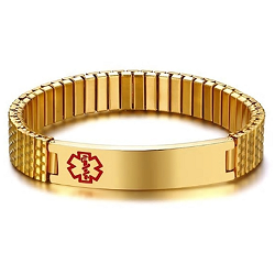 Gold Plated Expansion Band Medical ID Bracelet
