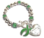 Mental Illness Awareness Silver Ribbon and Heart Charm Bracelet