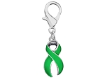 Medical Awareness Silver Ribbon Clip On Charm - Green