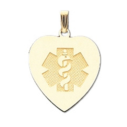 Heart Medical ID Pendant in 10K, 14K Gold or Silver - 24 x 27mm