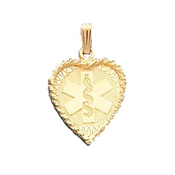 Heart Medical ID Pendant in 10K, 14K Gold or Silver