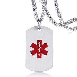 Large Alert Symbol Medical ID Dog Tag Pendant Necklace