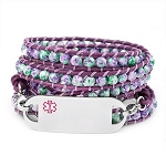 Lavender and Green Leather Beaded Wrap Medical ID Bracelet