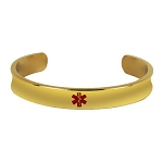 Stainless Steel Cuff Medical ID Bracelet - Gold Plated