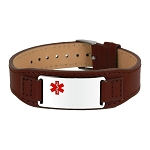 Stainless Steel Brown Leather Band Medical ID Bracelet