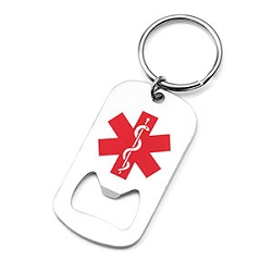 Medical ID Bottle Opener Keychain