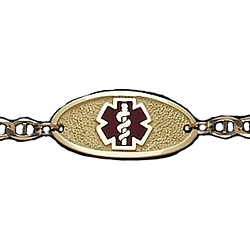 Gold Medical ID Bracelet with 8 Inch Mariner Chain