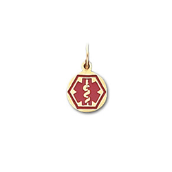 Round Hex Medical ID Pendant in 10K, 14K Gold or Silver - 9mm