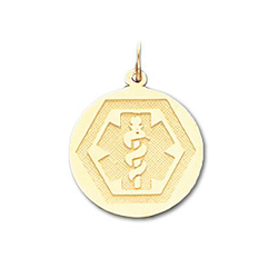Round Hex Medical ID Pendant in 10K, 14K Gold or Silver - 20mm