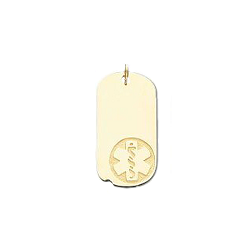 Medical ID Dog Tag Pendant in 10K, 14K Gold or Silver - 15 x 29mm