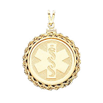 Rope Edge Medical ID Pendant in 10K, 14K Gold or Silver - 30mm