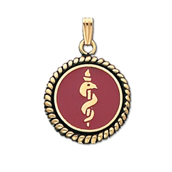 Braided Medical ID Pendant in 10K Yellow Gold - 20mm