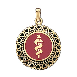 Heart Round Medical ID Pendant in 10K, 14K Gold or Silver - 25mm