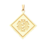 Side Square Medical ID Pendant in 10K, 14K Gold or Silver - 30mm