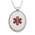 Stainless Steel Medical ID Pendant Necklace - Oval Rope Edge