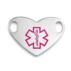 Medical ID Tag for Custom Bracelets - Stainless Heart with Large PINK Symbol - 1 Inch Length