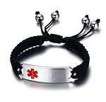 Men's Adjustable Black Braided Rope Medical ID Bracelet