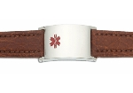 Men's Brown Leather and Stainless Adjustable Medical ID Bracelet
