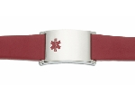 Men's Red Leather and Stainless Adjustable Medical ID Bracelet