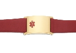 Men's Red Leather and Stainless Adjustable Medical ID Bracelet - Gold Plated